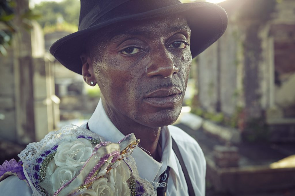 portrait of funeral dancer in New Orleans photo by Todd Antony