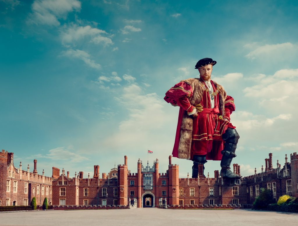 giant king Henry towers above Hampton court palace photo by Todd Antony