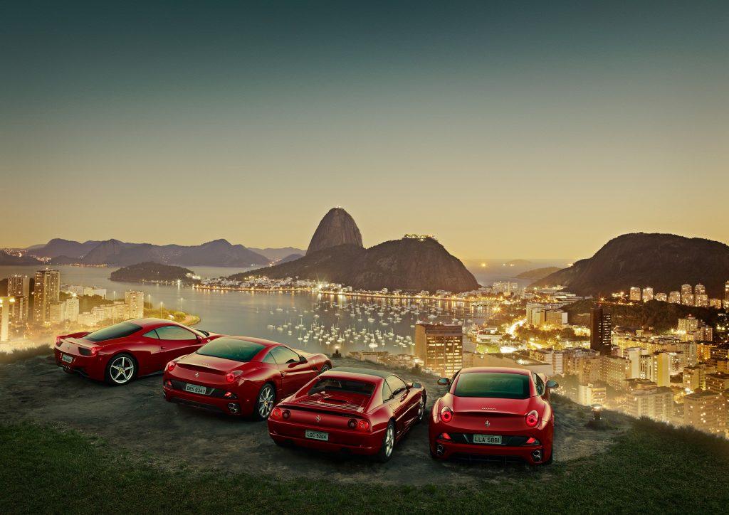 Ferrari cards on cliff overlooking Rio de Janeiro photo by Todd Antony