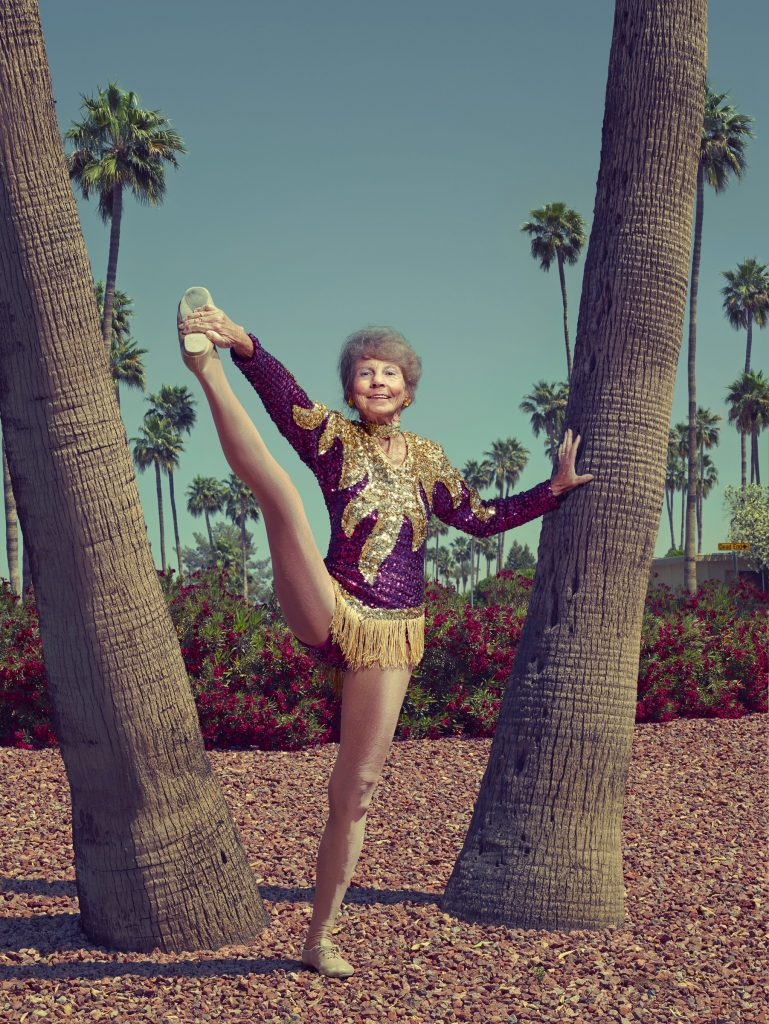 old lady cheerleader and palm trees in Arizona photo by Todd Antony